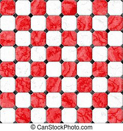 red white marble square floor tiles with black rhombs and...