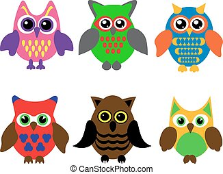 collection of cartoon owls