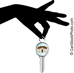 house key in hand - black silhouette of a human hand holding...