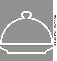 Cloche Poster Silhouette line cover for hot meals