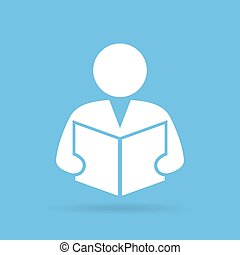 Person reading book, vector symbol