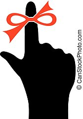 Reminder finger icon - Reminder red string finger icon