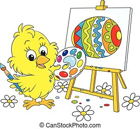 Easter Chick painter - Little yellow chicken drawing a...