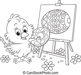 Easter Chick painter - Little chicken drawing a decorated...
