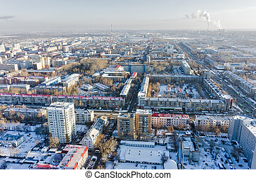 Residential districts with TV tower. Tyumen