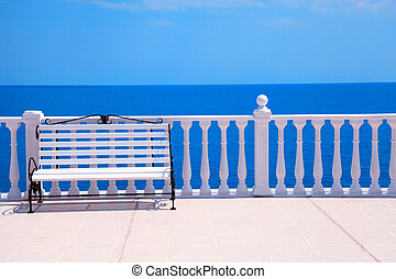 classic white balustrade, bench and empty terrace...