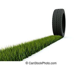 Tire with track from grass isolated on white