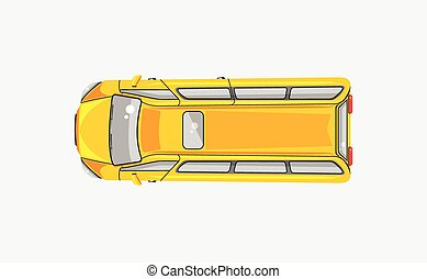 Minibus top view - Stock vector illustration isolated yellow...