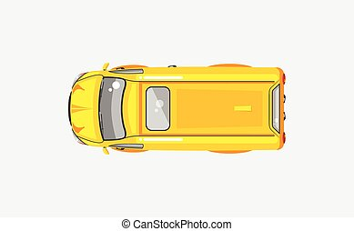 Minivan top view - Stock vector illustration isolated yellow...