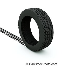 Tire with track isolated on white