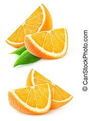 Two slices of orange fruit isolated on white with clipping...