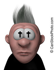 priest - cartoon guy with christian crosses in his eyes - 3d...