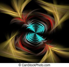 rainbow tunnel fractal - blue, red and yellow tunnel like...