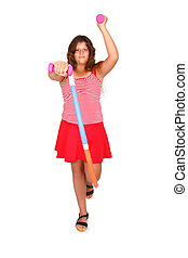 girl with a hula hoop and pink dumbbells - young girl with a...