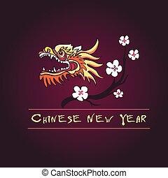新しい, 年, 中国語, アイコン
