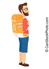 Man with backpack hiking. - A hipster man with backpack...