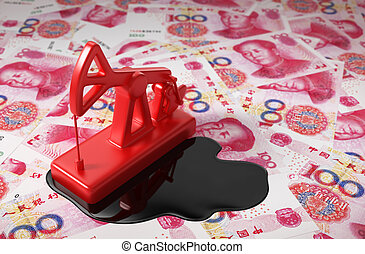Red Pumpjack And Spilled Oil On Chinese Yuan 3D Scene