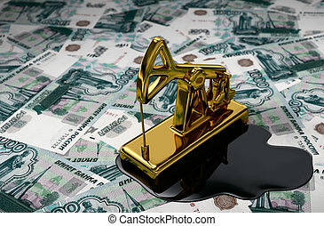 Golden Pumpjack And Spilled Oil On Russian Rubles. 3D Scene.