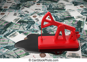 Red Pumpjack And Spilled Oil Over Russian Rubles 3D Scene