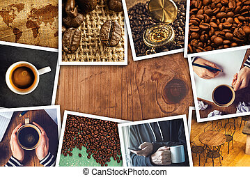 Coffee photo collage on wooden cafe table as copy space.