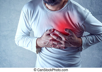 Severe heartache, man suffering from chest pain, having...