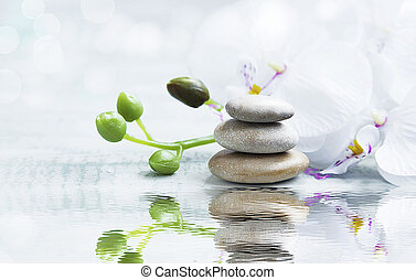 Spa still life with stones, orchid on water reflection