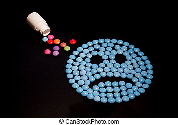 Sad blue emoticon conceptualising mental health problems