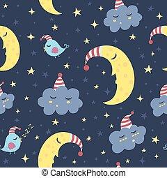 Good night seamless pattern. Vector illustration