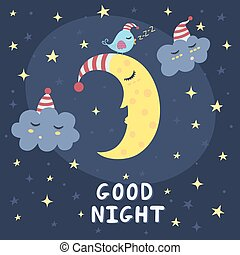 Good night card with the cute sleeping moon, clouds and a...