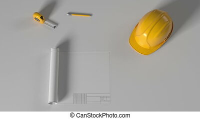 construction drawing with helmet, alpha mask - construction...
