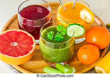 Green, yellow and red beverages - Green, yellow and red...