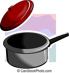 Kitchen Equipment - Illustration of a casserole and its...