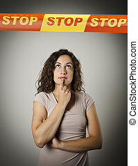 Girl and STOP line. - Girl and STOP line over her head....