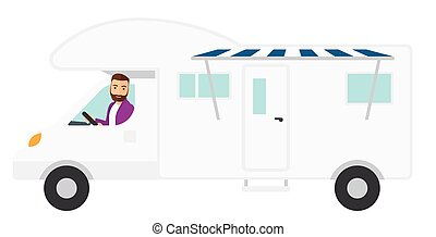 Man driving motor home - A hipster man with the beard...