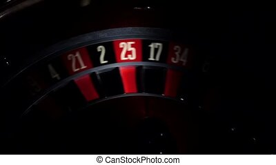 Roulette, number 7, red, shadow, close up