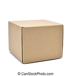 square cardboard box - a square brown cardboard box on a...