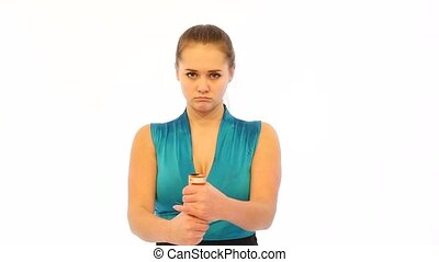 Girl Blows Petard in Her Hands in Slow Motion