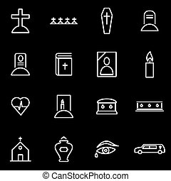 Vector line funeral icon set Funeral Icon Object, Funeral...