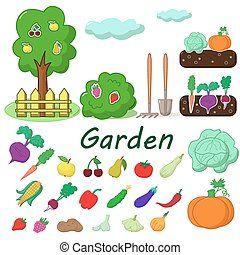 Garden with fruits and vegetables - Garden with some fruits...