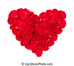 Red rose petals heart Isolated on white background