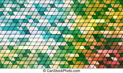 Broadcast Twinkling Cubic Hi-Tech Triangles, Green, Abstract, Loopable, HD