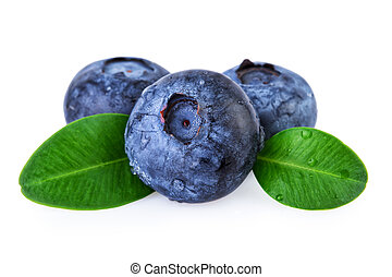 Fresh Blueberries Water Droplets Isolated