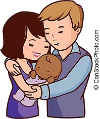 Mother father and adopted baby - Vector Illustration of a...
