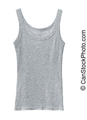 Sleeveless shirt - Grey cotton sleeveless shirt isolated on...
