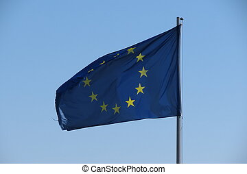 European Union flag floating in the air