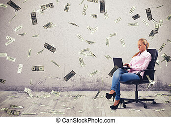 Earn money working - Businesswoman working at pc with...