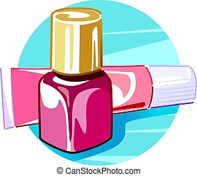 Nail polish with cream - Illustration of Nail polish with...