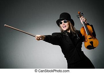 concept, classique, femme, musique, violon, jouer