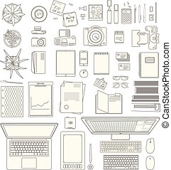 office stuff collection - huge vector set of modern office...