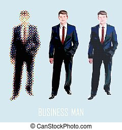 business man standing - vector man figure in different style